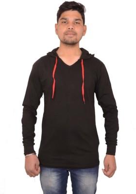 izzard Solid Men's Hooded Black T-Shirt