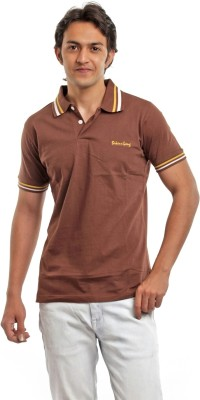 BG69 Solid Men's Polo Neck Brown T-Shirt  available at flipkart for Rs.199