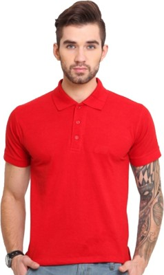 Go India Store Solid Men's Polo Neck Red T-Shirt