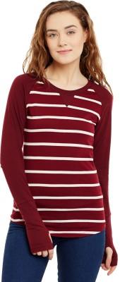 Hypernation Striped Women Round Neck White, Maroon T Shirt Hypernation Women's T shirts
