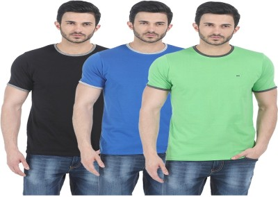 Basics Solid Men Round or Crew Blue T-Shirt(Pack of 3) at flipkart