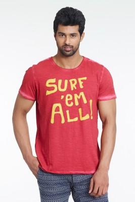 Masculino Latino Printed Men's Round Neck Red T-Shirt
