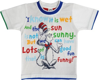 Kooka Boys Graphic Print T Shirt(White, Pack of 1) at flipkart