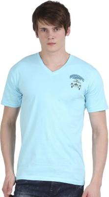 Tease Denim Embroidered Men's V-neck Light Blue T-Shirt  available at flipkart for Rs.250
