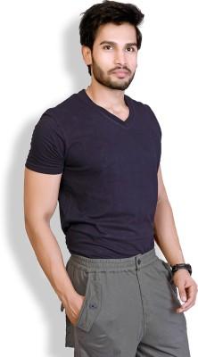 LUCfashion Solid Men's V-neck Black T-Shirt  available at flipkart for Rs.155