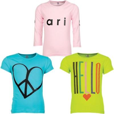 Gkidz Girls Graphic Print T Shirt(Multicolor) at flipkart