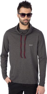 Fabstone Collection Color block Men Hooded Grey, Black T-Shirt