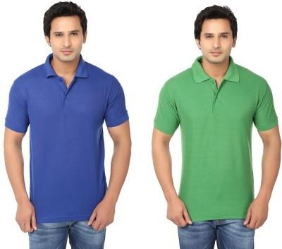 Keepsake Solid Men's Polo Neck Blue, Green T-Shirt(Pack of 2)