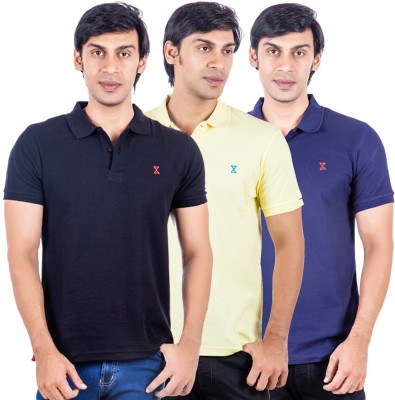 X-Tint Solid Men's Polo Neck Multicolor T-Shirt(Pack of 3)