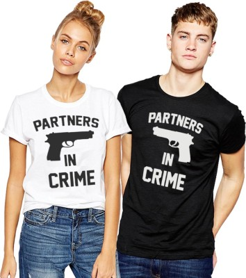 Young Trendz Printed Men & Women Round Neck Black, White T-Shirt(Pack of 2) at flipkart