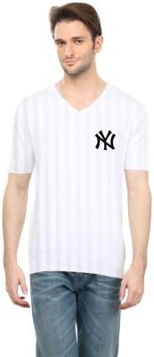 Cool Club Solid Men's V-neck White T-Shirt
