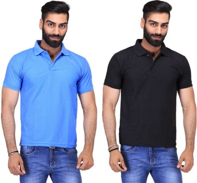 Fuego Solid Men's Polo Neck Black, Light Blue T-Shirt(Pack of 2)