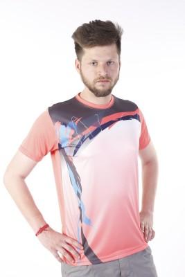 Zagros Printed Men's Round Neck Pink T-Shirt