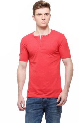 Fasnoya Solid Men's Henley Red T-Shirt at flipkart