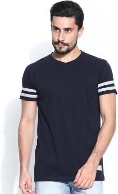 Hubberholme Solid Men's V-neck Blue T-Shirt  available at flipkart for Rs.199