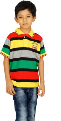 Shaun Boys Striped T Shirt(Multicolor, Pack of 1)