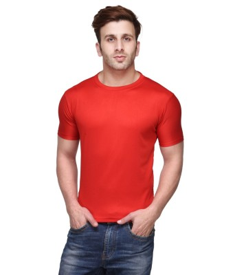 Funky Guys Solid Men's Round Neck Red T-Shirt
