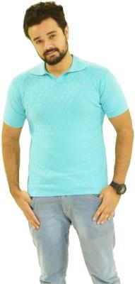 Oldberri Solid Men's Polo Neck Blue T-Shirt