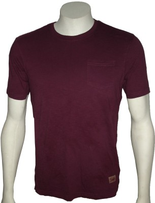 Cool Club Solid Men's Round Neck Maroon T-Shirt