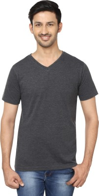 Trendamo Solid Men's V-neck Grey T-Shirt  available at flipkart for Rs.199