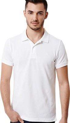 Go India Store Solid Men's Polo Neck White T-Shirt