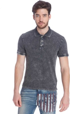 Jack & Jones Solid Men Polo Neck Black T-Shirt at flipkart