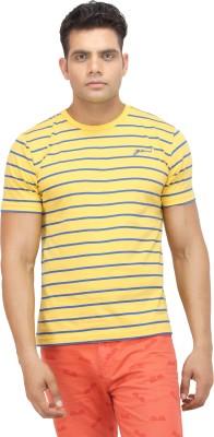 Yuvi Striped Men's Round Neck Yellow T-Shirt