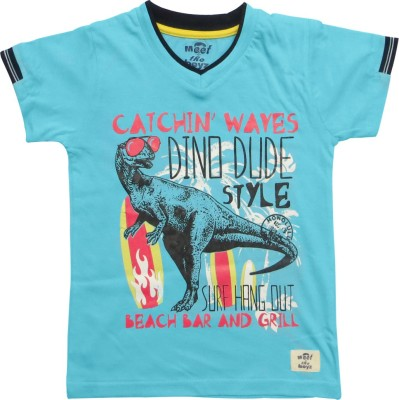 Kothari Boys Printed T Shirt(Blue, Pack of 1)