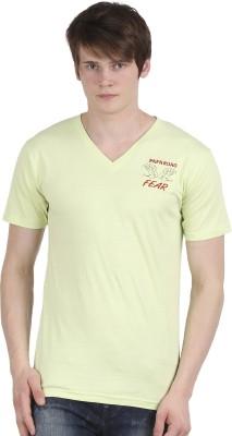 Tease Denim Embroidered Men's V-neck Light Green T-Shirt  available at flipkart for Rs.250