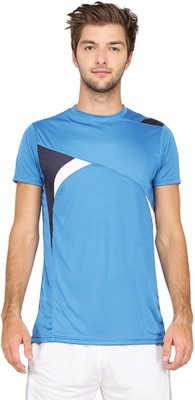Campus Sutra Solid Men Round or Crew Blue T-Shirt at flipkart