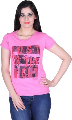 Lluminati Graphic Print Women's Round Neck Pink T-Shirt  available at flipkart for Rs.188