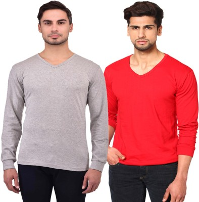 Unisopent Designs Solid Men V Neck Red, Grey T Shirt