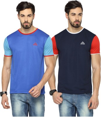 Canyons Solid Men Round Neck Blue, Dark Blue T-Shirt(Pack of 2) at flipkart