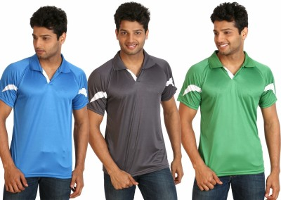 Campus Sutra Solid Men Polo Neck Grey, Light Blue, Green T-Shirt(Pack of 3) at flipkart