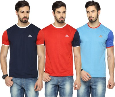 Canyons Solid Men Round Neck Dark Blue, Red, Light Blue T-Shirt(Pack of 3) at flipkart