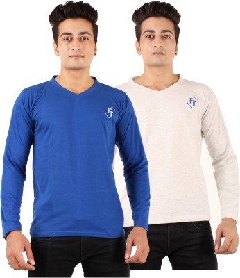 FTrick Solid Men's V-neck Blue, Grey T-Shirt(Pack of 2)
