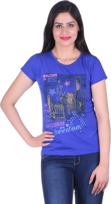 Lluminati Graphic Print Women's Round Neck Blue T-Shirt  available at flipkart for Rs.188