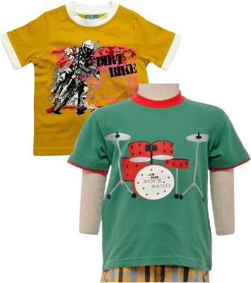 JusCubs Boys Printed T Shirt(Multicolor, Pack of 2)