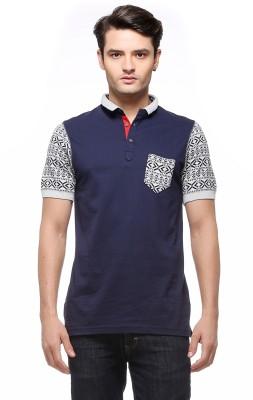 Fasnoya Solid Men's Polo Neck Dark Blue T-Shirt at flipkart