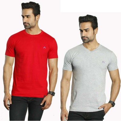 Albiten Solid Men's Round Neck Red, Grey T-Shirt(Pack of 2)