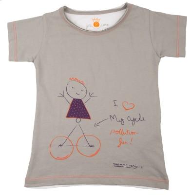 NeedyBee Girls Printed T Shirt(Grey)