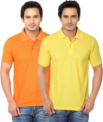 Ansh Fashion Wear Solid Men's Polo Neck Multicolor T-Shirt(Pack of 2)