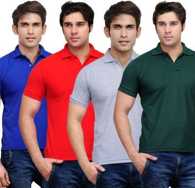 TSX Solid Men's Polo Neck Multicolor T-Shirt(Pack of 4) at flipkart