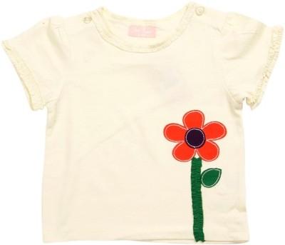 JusCubs Girls Self Design T Shirt(Yellow)