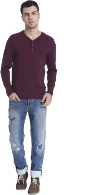 Jack & Jones Solid Men Henley Purple T-Shirt at flipkart