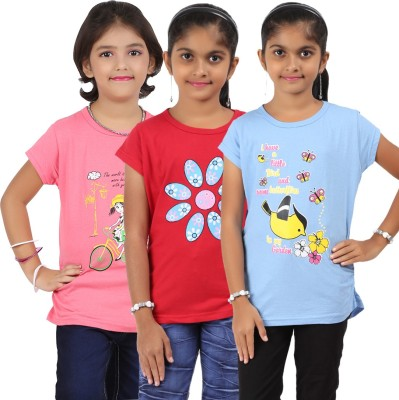 Bes-Tex Girls Printed T Shirt(Multicolor)