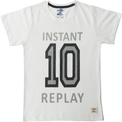 Kothari Boys Printed T Shirt(White, Pack of 1)