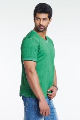 Masculino Latino Printed Men's V-neck Green T-Shirt