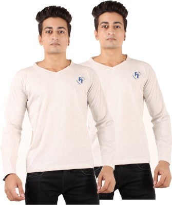 FTrick Solid Men's V-neck Grey T-Shirt(Pack of 2)