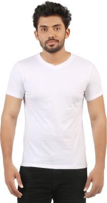 VUYHAZ Solid Men's V-neck White T-Shirt  available at flipkart for Rs.199